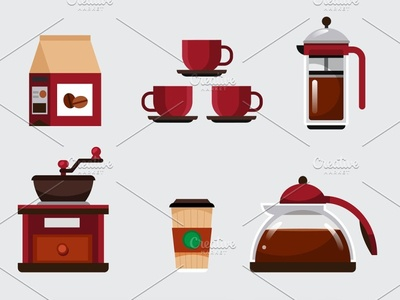 Coffee Set elements french press pot take away grinder beanbag coffee bean objects elements set coffee