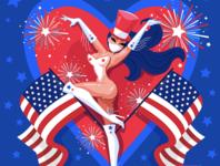 4th July PinUp star stars us usa america flag corona covid illustration lady woman sexy vixen july 4th july 4th pinup