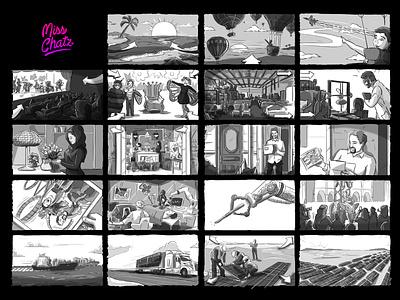 SAL Storyboard digital remote freelancer storyboard artist movie bw sketch advertising ad script storyboards storyboarding storyboard illustration