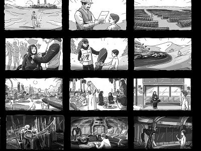 ARAMCO Storyboard illustration arab advertising flyer advertising agency advertising middle grade illustrator remote gulf mena gcc middle east saudi arabia saudi storyboard storyboards freelance freelancer storyboard artist sketch