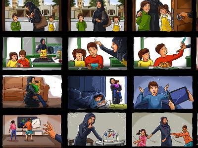 Colored Storyboard film movie artist remote illustration freelance arabic arabian gul mena gcc middle east arab artistic direction advertising agency advertising ad sketch storyboard artist storyboard