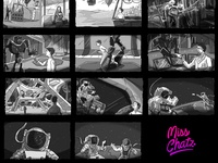 Space Bound Storyboard artist remote freelance freelancer illustration illustrator galaxy scientist astronaut nasa storyboard arabian bound space