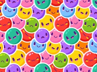 Colorful Emoticons Pattern circle green cute happy art texture letters alphabet cartoon blue retro round wallpaper seamless design color illustration colorful abstract pattern
