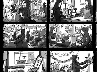 Apple Pay Storyboard shopping shop pencil pen black  white black vector lady branding logo love arab arabian sketch design cute freelance illustration