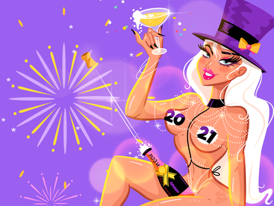 Happy New Year bottle pop girls pinup beautiful hottie mua girl sexy pretty babe queen prosecco champagne meow moet celebrate year new happy