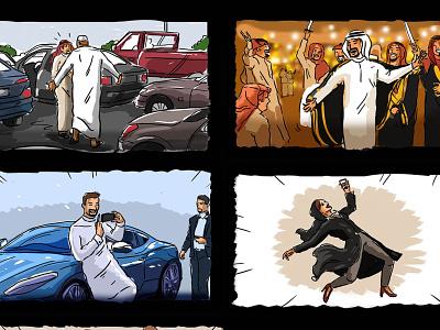 Quick + Rough Sketch Storyboard freelancer matrix dance cars color rough storyboard arabian sketch freelance arab illustration