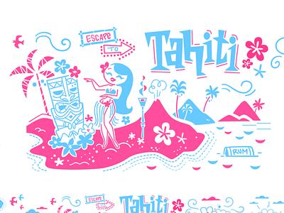 Escape to Tahiti frelancer design designer cute pink blue polynesia polunesian tahiti tikitiki paradise vibes glass tropical tai mai tiki glasses umbrella tiny