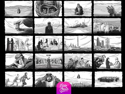 G20 Conceptual Storyboard uae saudiarabia saudi adobe photoshop advert adobe adele advertising drawing sketch storyboard gulf mena gcc middle east arabian arab design freelance illustration