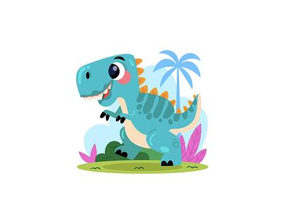 Cartoon Baby TRex illustration freelance cartoon illustration rawr fossil history wild animal wild nature palm museum dinosaur dino trex baby cartoon