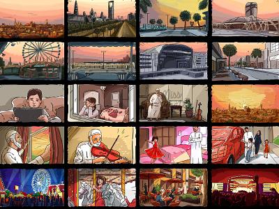 Colorful Storyboarding colorful covid corona pandemic arab gulf mena gcc middle east arabian saudiarabia saudi storyboard artist drawing sketch storyboard color freelance illustration