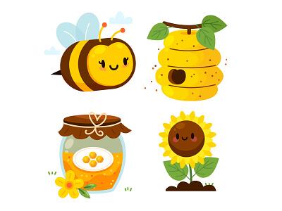 Honey Bee Vectors buy sale cute illustration cute bees daisy sunflower hive jar honey bee vector style cartoon kawaii