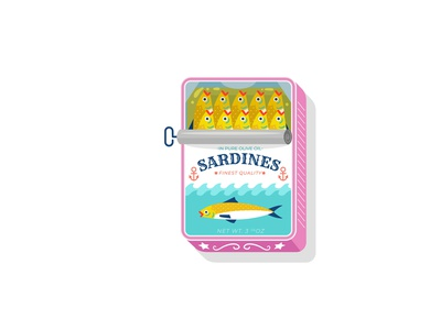 Life is a Can of Sardines food canned food freelance ocean sea fishy fish sardines can illustration