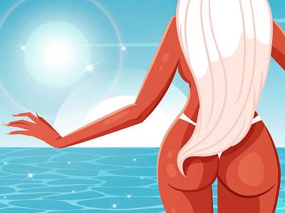 Hot Girl Summer woman pinup design cute hot girl women ladies bikini ocean beach summer babe girl hot freelance illustration