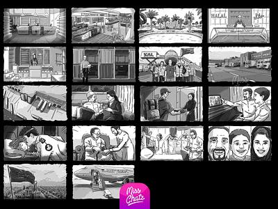 Storyboard Staging & Cinematic Storytelling saudia illustrator artist digital arabian freelancer gulf mena gcc middle east arabic arab sketch frames storyboard freelance illustration