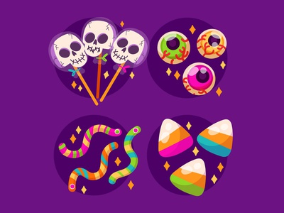 Halloween Candy Colletion illustration freelance cute lollipop corn worms skull collection vector halloween gummies candy