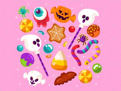 Halloween Candy Collection vector illustration freelance bat chocolate tricks treats cookies web spider loillipops ghost corn worms gummy pumpkin skull halloween candy cute