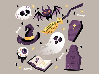Halloween Elements Collection web haunting spooky haunted coffin gravestone ghost spellbook book spells bones witch cartoon bat broom skull collection halloween