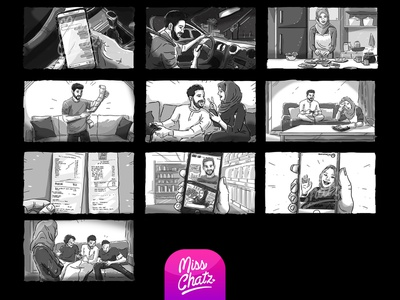Mobile Shopping Storyboard illustration frames camera movie production house filmmaking production film storyboard freelance freelancer designer illustrator sketch series web short
