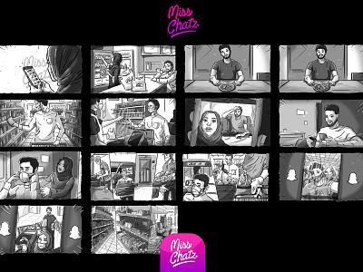 Online Bodega: AlDukan Storyboard ad agency advertising white black making movie directot production film frame sketch arabian arab freelance illustration ill