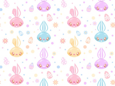 Seamless Easter Bunny Pattern By Miss ChatZ Dribbble Dribbble Inspiration Bunny Pattern