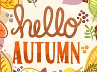 Beautiful Hello Autumn Lettering Background