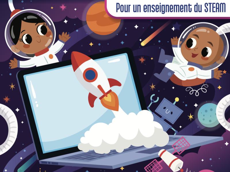 Book Cover Design: Linfo Pour Tous freelancer artist teach learn children art space astronauts ed computer school eduaction children kids cover design cover book