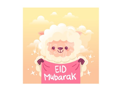 Eid Adha Sheep Banner Cartoon
