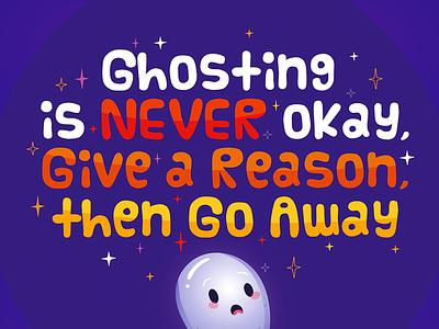 Ghosting funny reason bye romance love away go vector ghost freelance illustration