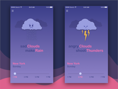 Weather App for Kids teach learn weather temperature mobile ios interface interaction illustration kids app