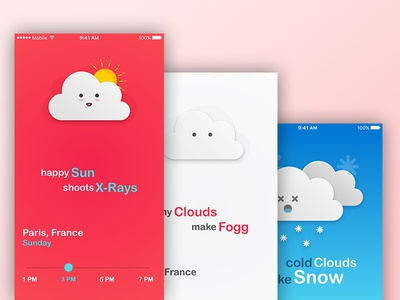 Some Cute Cloud Illustrations for Kids app kids illustration interaction interface ios mobile temperature weather learn teach