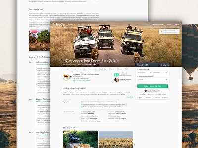 Trip Offer Details flat clean timeline gallery icons layout float ui website offer travel