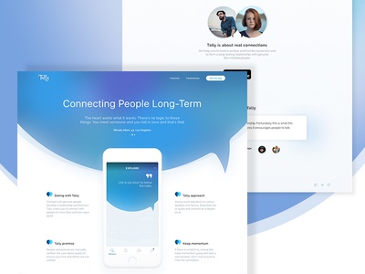 Tally iOS Dating App Landing Page website web ux ui minimal page landing homepage flat features design clean