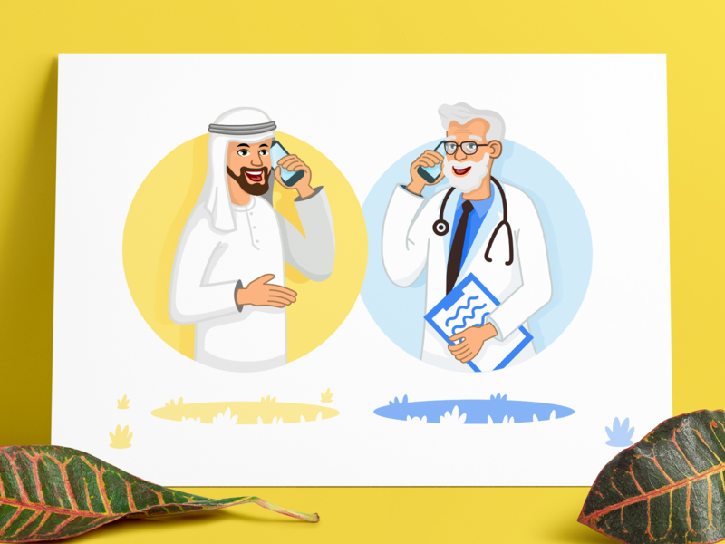 Doctor Illustration illustration clean flat ux ui middle east landing page hospital header doctor animation
