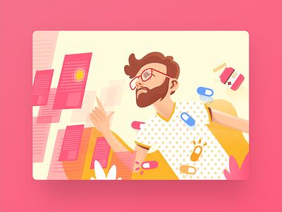 Hero Illustration clean logo web minimal flat hero ux ui middle east landing page illustation header doctor