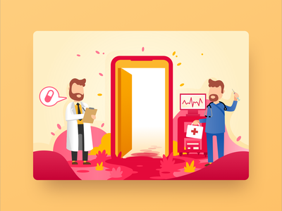 Hospital Illustration branding animation ios minimal medical hospital doctor vector app web flat clean landing illustration