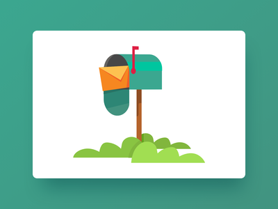 Mailbox Illustration flat landing page mobile website character ux ui mail grass character design mailbox illustration 2d