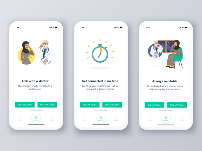 Altibbi Walkthrough ux ui ux flow uidesign chat doctor onboarding mobile app layout call interaction illustration medical design creative art app clean flat ios
