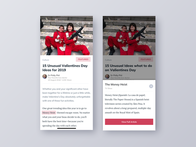 Valenties Day Article bottom sheet flat ux ui product movie love valentines material design light ios design clean article app