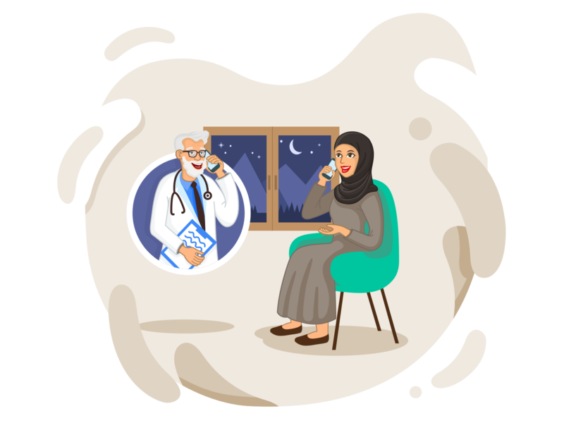 Telemedicine Illustration arab telemedicine call doctor clean flat ui app landing vector illustration