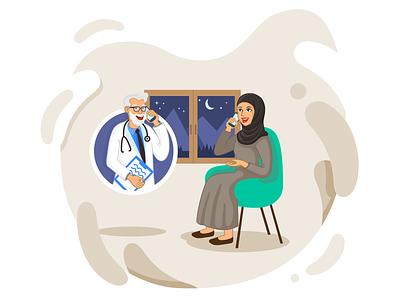 Telemedicine Illustration arab telemedicine call doctor clean flat ui app landing vector illustration
