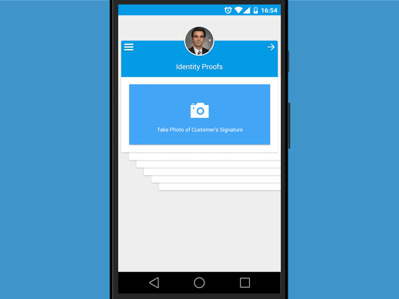 Take a photo screen   banking app design for client