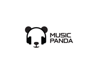 Music Panda app icon black headphone sound minimal brand idea logos logo