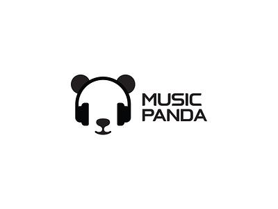 Music Panda app icon black headphone sound minimal brand idea logos logo