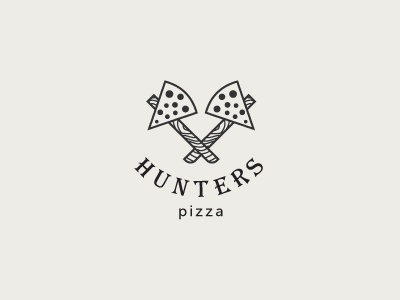 Hunters pizza logo brand mark branding idea indian wild hunter pizza food line minimalism