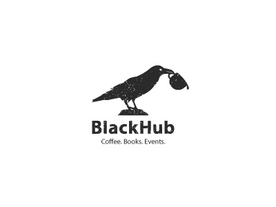 BlackHub logo logos brand mark idea black cofe coffee book raven tea logomark