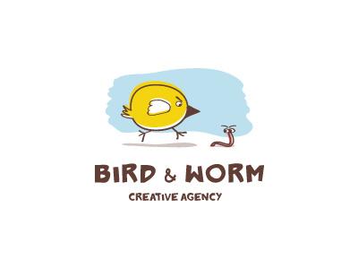 Bird and worm vector paint art idea brand mark logos logo