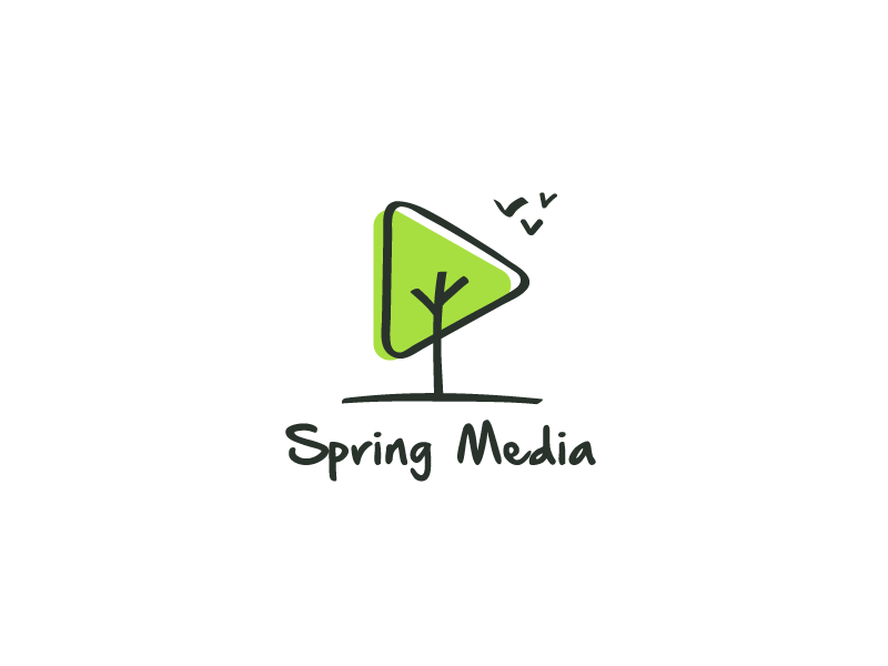 Spring Media green play tree fly movie cinema idea brand mark logos logo