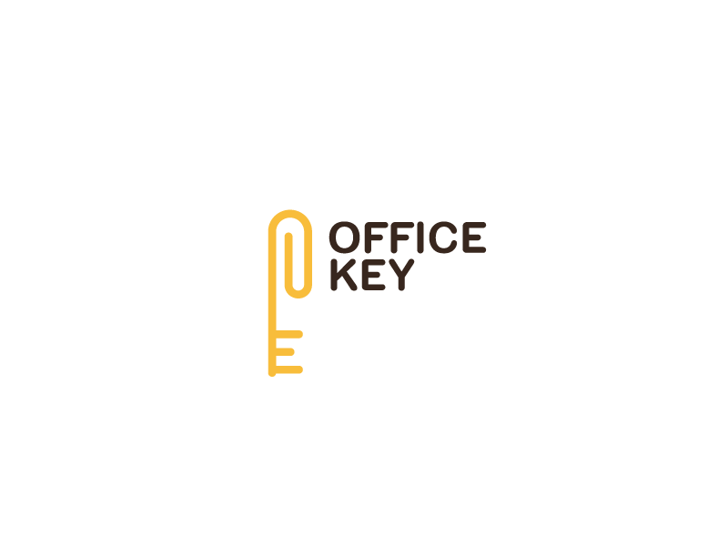 Office Key yellow orange office key flat brand mark logos logo