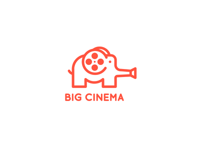 Big Cinema animal camera film cinema elephant idea brand mark logos logo