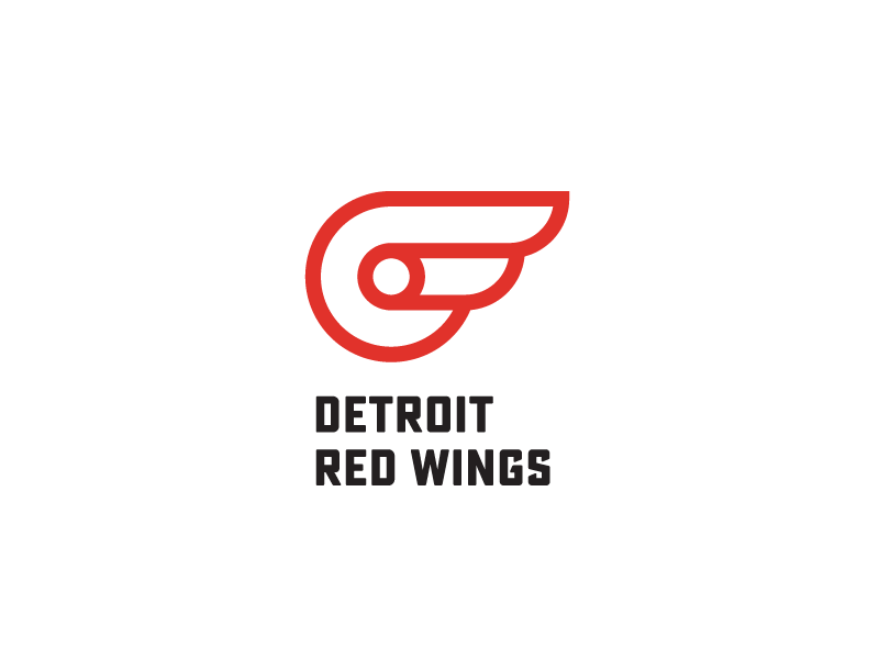 Detroit Red Wings (rebrand) hockey brand mark idea wings red minimal logos logo